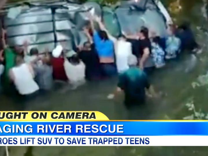 Bystanders Flip SUV to Save Teens