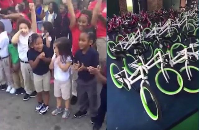 Students get new bikes at Pepperidge Elementary School