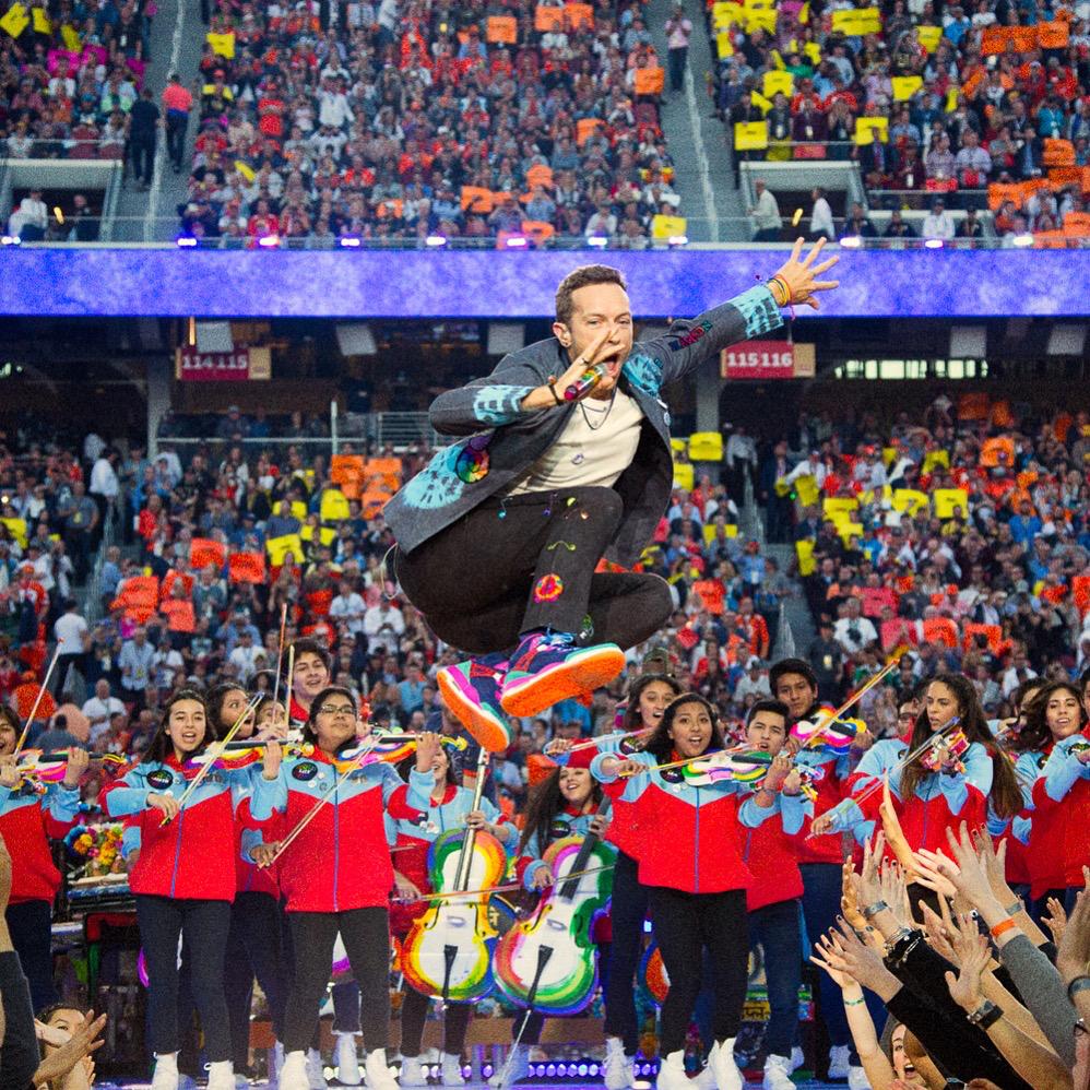 Chris Martin Love Button at the Super Bowl Halftim