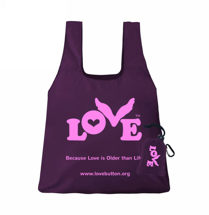 Love Button Shopping Bag - Purple and Pink