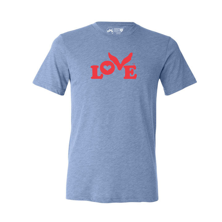 Love Button T-Shirt - Triblend Unisex Blue