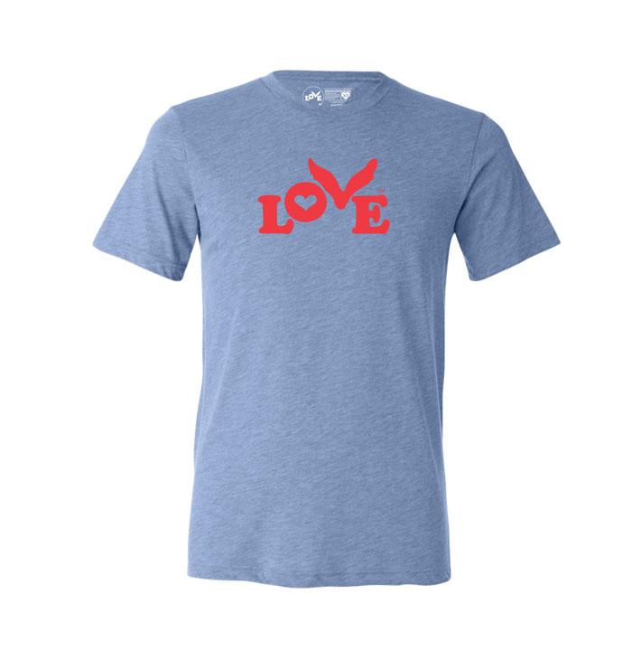 Love Button T-Shirt - Triblend Unisex Blue