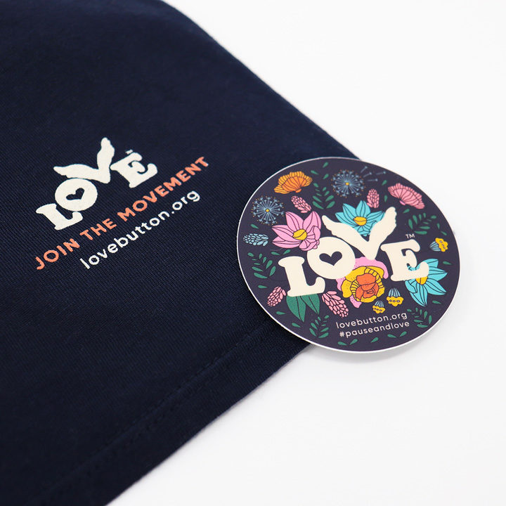 Love is a Verb Women's Tee with Sticker
