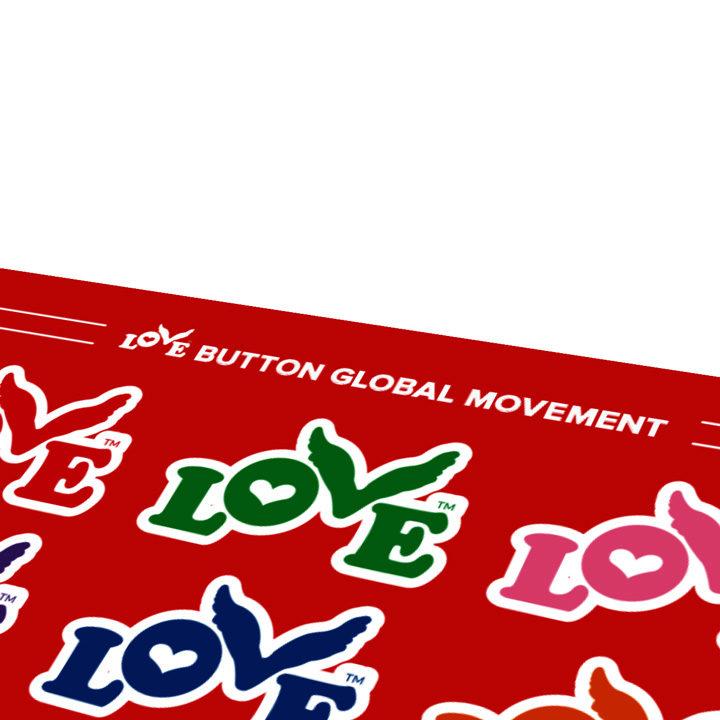 Love Button Sticker Sheet Close-Up