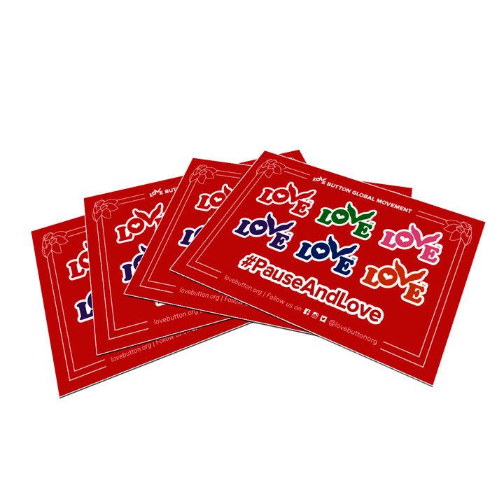 Love Button Sticker Sheet 4-Pack