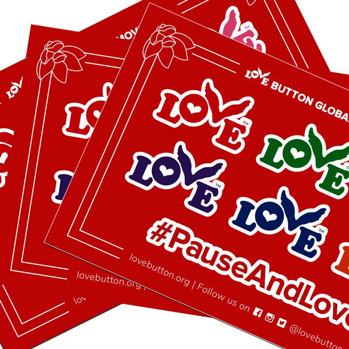 Love Button Sticker Sheet 4-Pack Close-Up