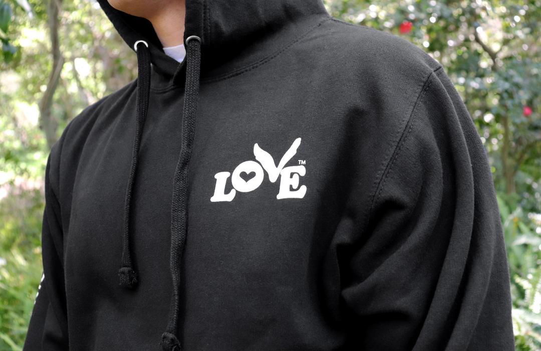 Love Button Unisex Pullover Hoodie - Black