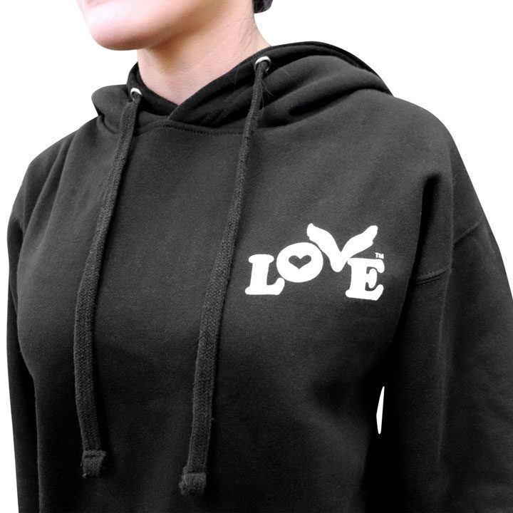 Love Button Unisex Pullover Hoodie - Black