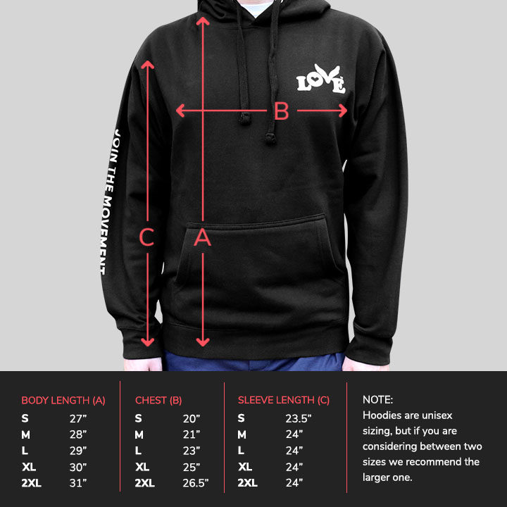 Love Button Unisex Pullover Hoodie - Sizing Chart