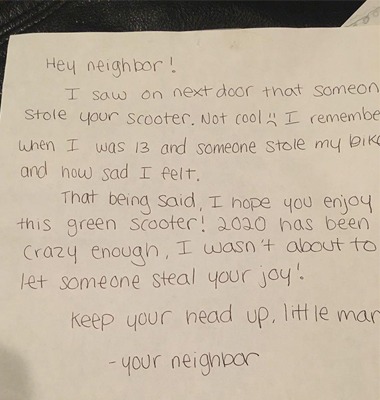 Anonymous Neighbor Buys New Scooter to Replace Kid's Stolen One