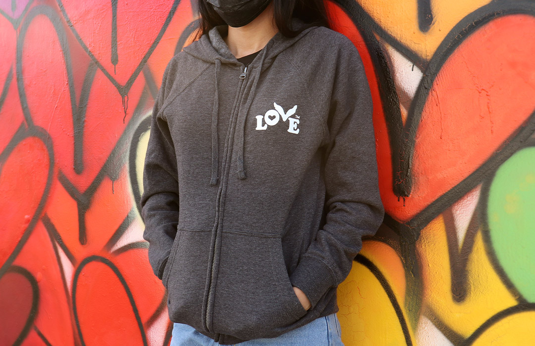 New Love Button Zip Hoodies